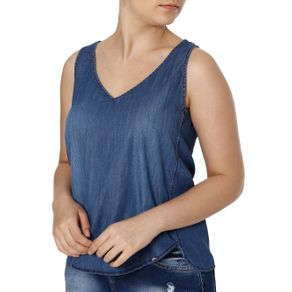 Blusa Regata Jeans Feminina Cativa Azul P