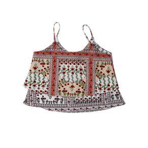 Blusa Regata Juvenil para Menina - Bege/vermelho 10