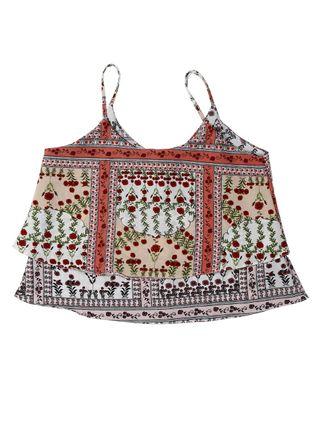 Blusa Regata Juvenil para Menina - Bege/vermelho