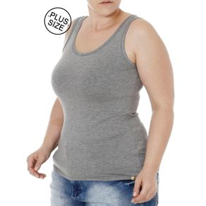 Blusa Regata Plus Size Feminina Autentique Cinza G