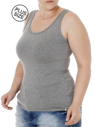 Blusa Regata Plus Size Feminina Autentique Cinza