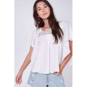Blusa Renda Decote Off White - 38