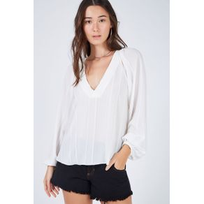 Blusa Retilinea Decote Off White - 44