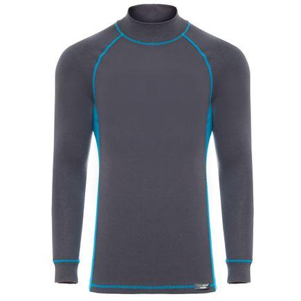Blusa Segunda Pele Gola Alta Black Spade Thermal Nivel 2 Masculina Grafite com Azul Tam. P