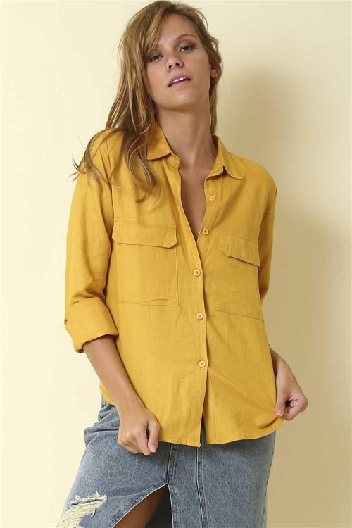 Blusa Social Botões - Amarelo Tamanho: GG