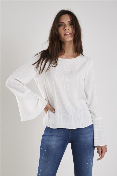 Blusa Textura Listras Off White - 38