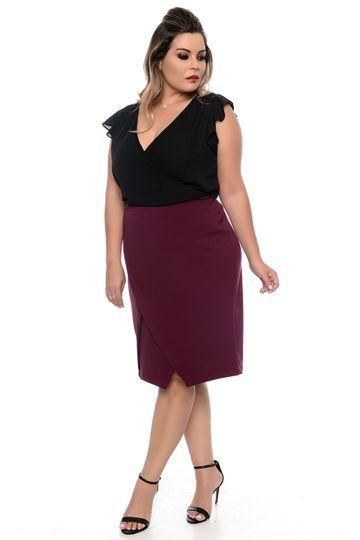 Blusa Transpassada Preta Plus Size