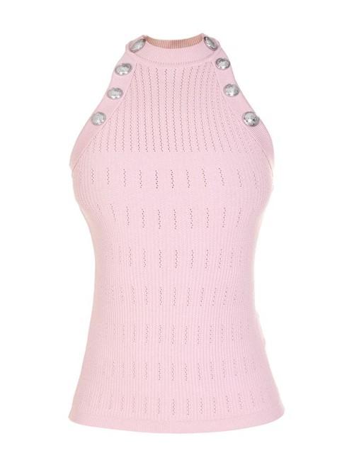 Blusa Tricô Botões Rosa Tamanho 42