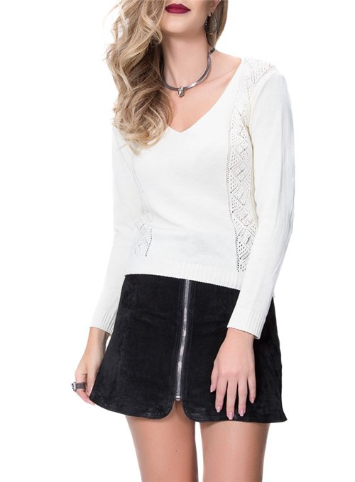 Blusa Tricot Cordão Branco