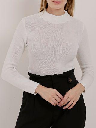 Blusa Tricot Feminina Off White