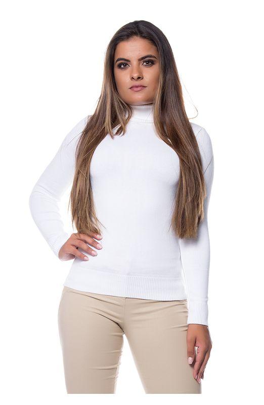 Blusa Tricot Gola Alta Rolê - Branco Branco
