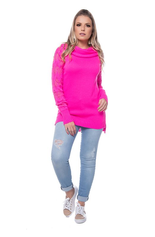 Blusa Tricot Gola Boba Pink Pink