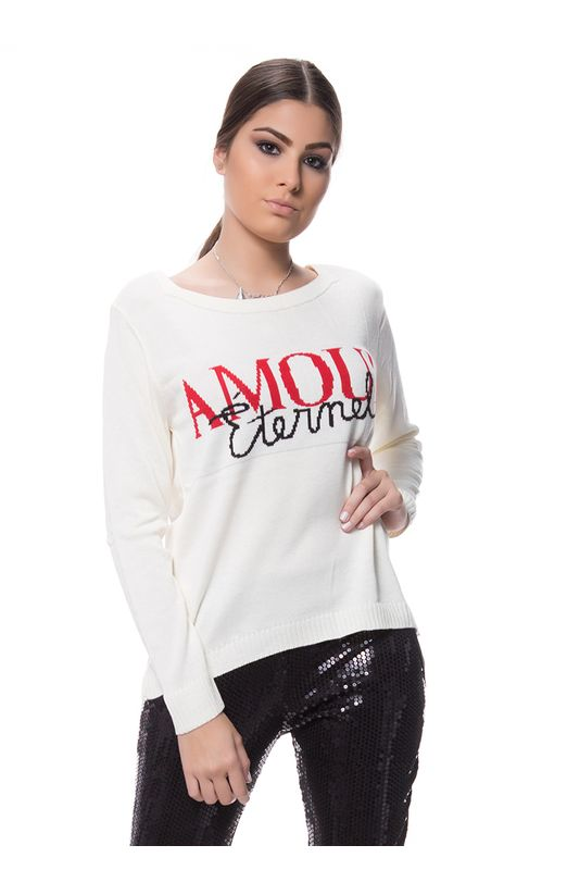 Blusa Tricot Jacar Amour - Off White OFF WHITE