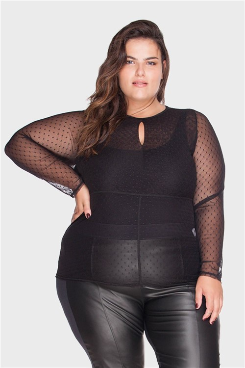 Blusa Tule Plus Size Preto-46