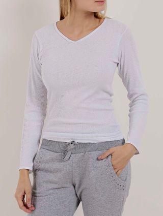 Blusa Underwear Manga Longa Feminina Branco