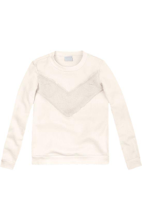 Blusão Moletom Detalhe Pelúcia Enfim Branco - G