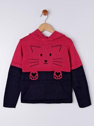 Blusão Tricot Infantil para Menina - Rosa/marinho