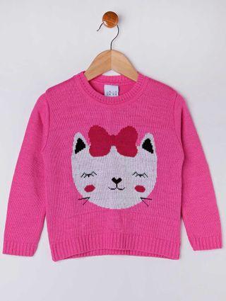 Blusão Tricot Infantil para Menina - Rosa Pink