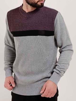 Blusão Tricot Masculino Bordô/cinza