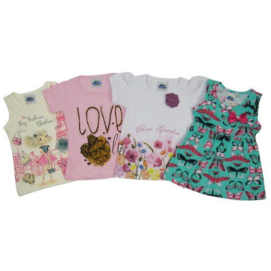 Blusas Bebê Feminina Kit com 4 Unidades Creme, Rosa, Branca e Verde-2