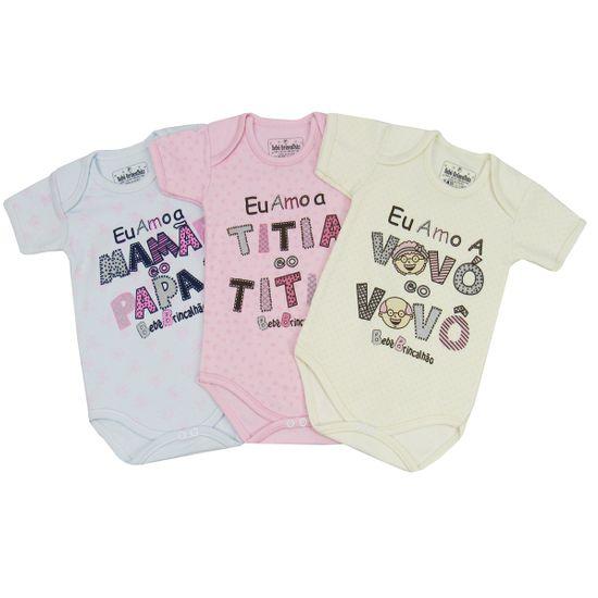 Body Bebê Feminino Manga Curta Estampa Divertida Kit com 3 Unidades-P