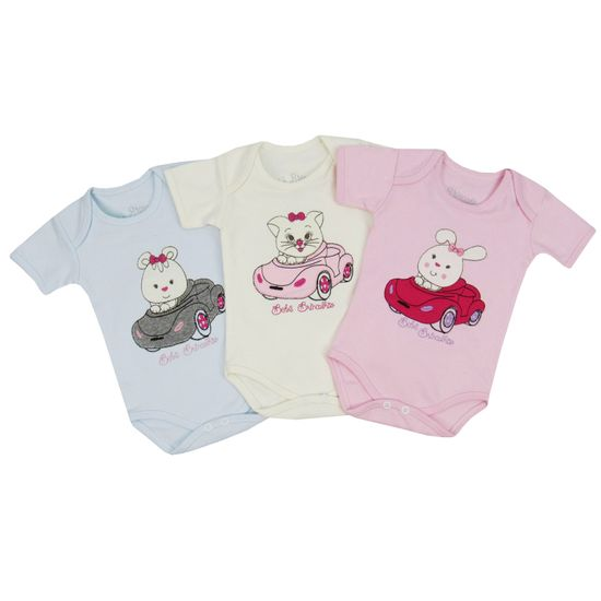 Body Bebê Feminino Manga Curta Kit com 3 Unidades-M