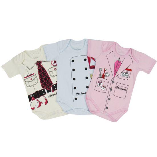 Body Bebê Feminino Manga Curta Kit com 3 Unidades-P