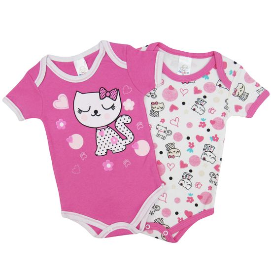 Body Bebê Feminino Manga Curta Kit com 2 Unidades-P