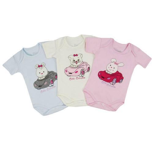 Body Bebê Feminino Manga Curta Kit com 3 Unidades