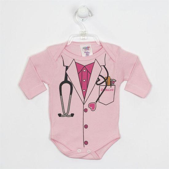 Body Bebê Feminino Manga Longa Médica Rosa-G