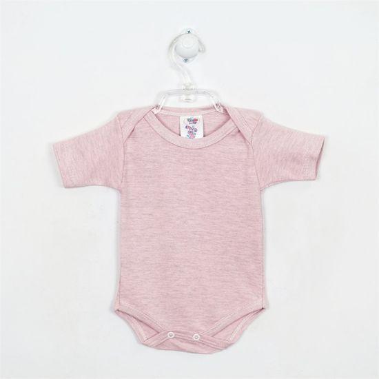 Body Bebê Feminino Mescla Manga Curta Rosa-M