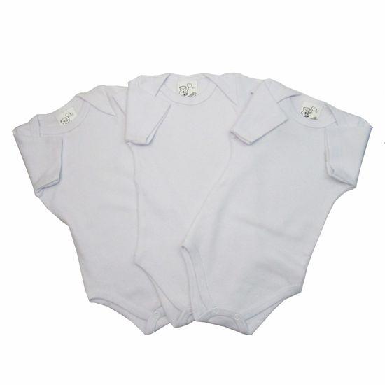 Body Bebê Manga Curta Unissex Branco Kit com 3 Unidades-P