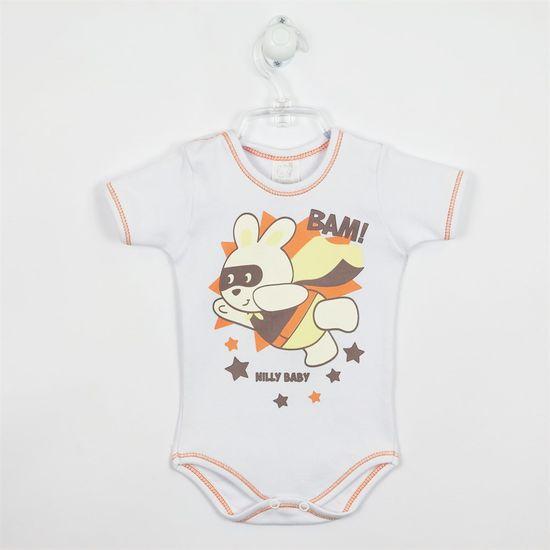 Body Bebê Masculino Manga Curta Super Coelho-Branca-RN