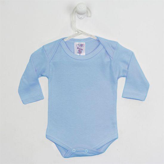 Body Bebê Masculino Manga Longa Azul Claro-G
