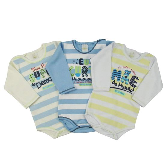 Body Bebê Masculino Manga Longa Kit com 3 Unidades-P