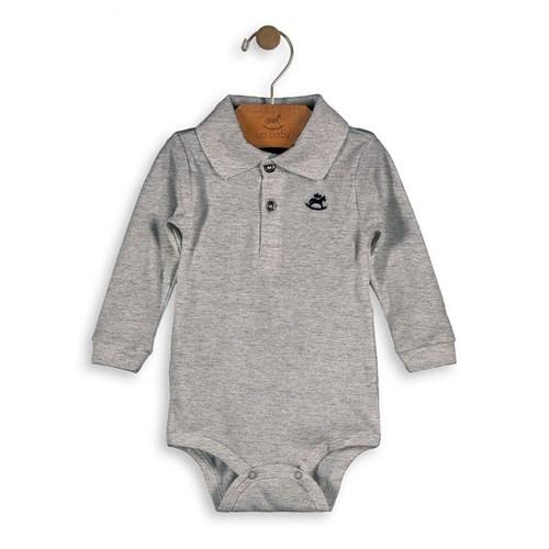 Body Bebê Polo Cinza Manga Longa em Suedine Up Baby G (6 a 9 Meses)