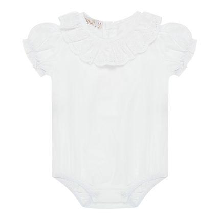 Body Curto para Bebê em Cambraia Renda Branca - Roana