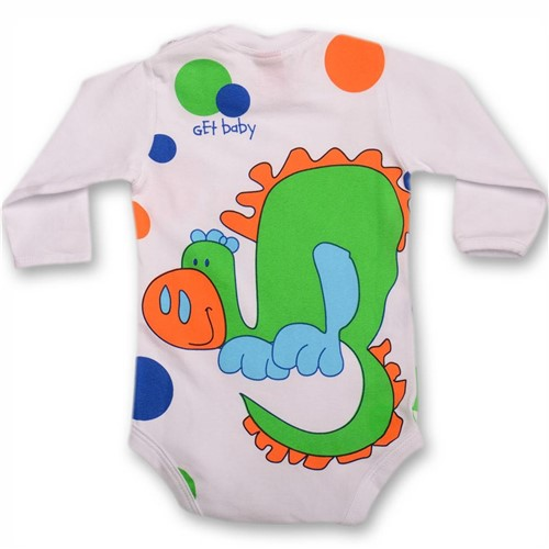 Body Dino Bolas Branco e Verde Manga Longa Get Baby Body Dino Bolas G