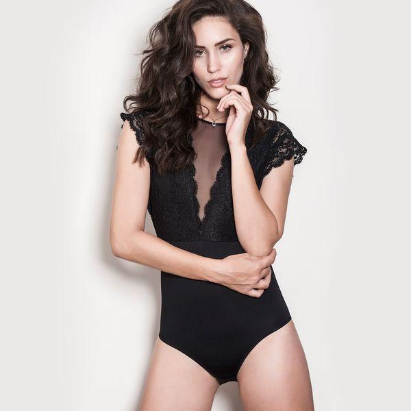 Body Elegance Decote Tule Preto P