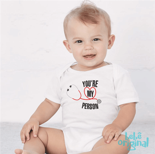 Body Grey's You Are My Person 100% Algodão, Branco Curta P