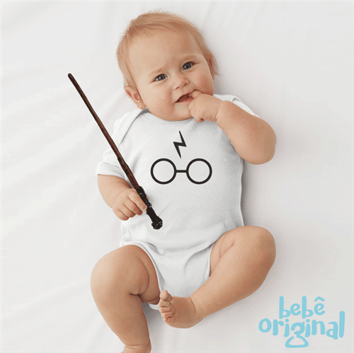 Body Harry Óculos 100% Algodão-branco Curta P