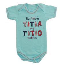 Body M/C com Estampa eu Amo a Titia e o Titio|Doremi Bebê