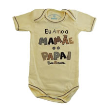 Body Manga Curta Amo a Mamãe e o Papai Doremi Bebê