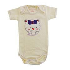 Body Manga Curta Gatinha de Laço   Doremi Bebê