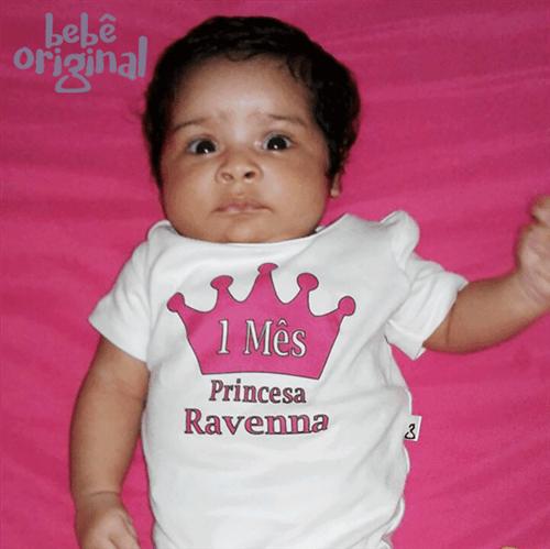 Body Mesversario Avulso Princesa com Nome 100% Algodão com Nome Personalizado