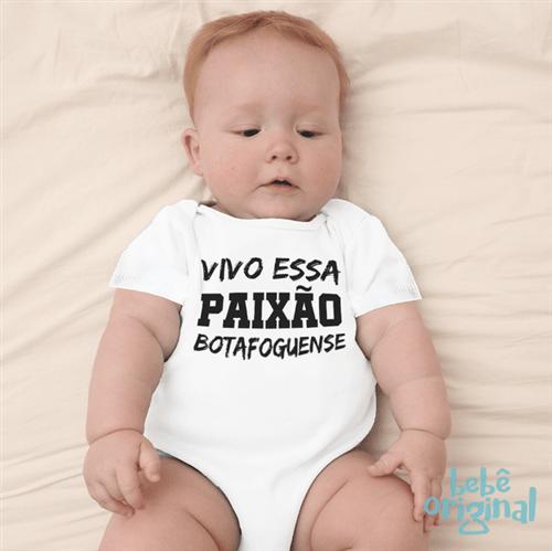 Body Paixão Botafoguense 100% Algodão, Branco Curta P