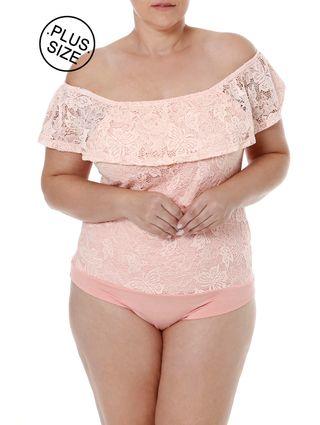 Body Plus Size Feminino Autentique Rosa
