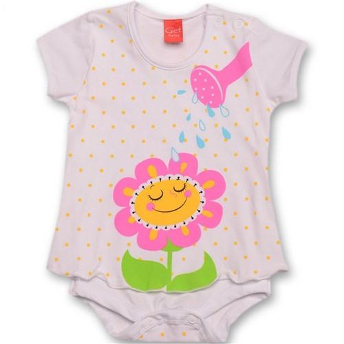 Body Regador Vestido Branco e Rosa Manga Curta Get Baby Body Regador Vestido G
