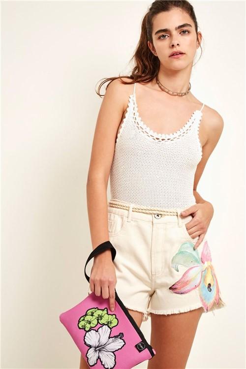 Body Tricot Acabamento Crochet Off White - G