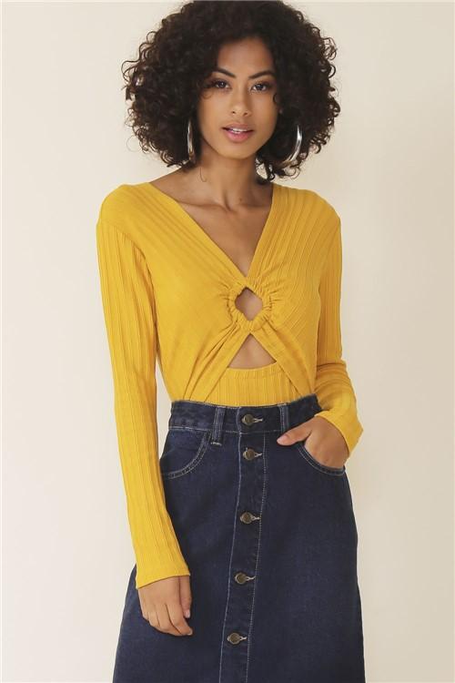 Body Tricot Decote V - Amarelo Tamanho: G